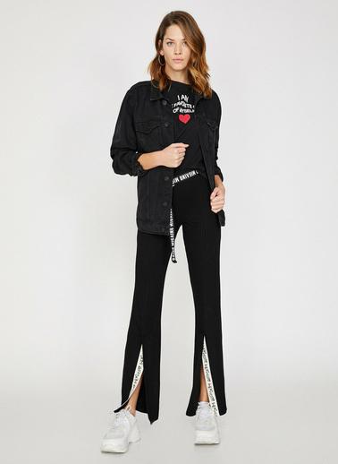 Koton Paça Detaylı Pantolon Siyah